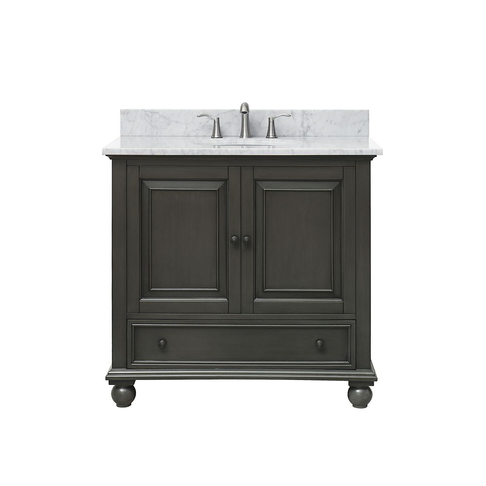 Thompson 37 Inch Vanity Combo In Charcoal Glaze Finish With Carrera White Top