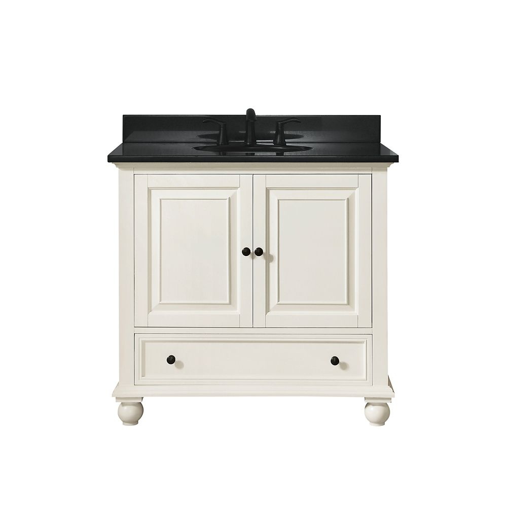 Thompson 37 Inch Vanity Combo In French White Finish With Black Granite Top