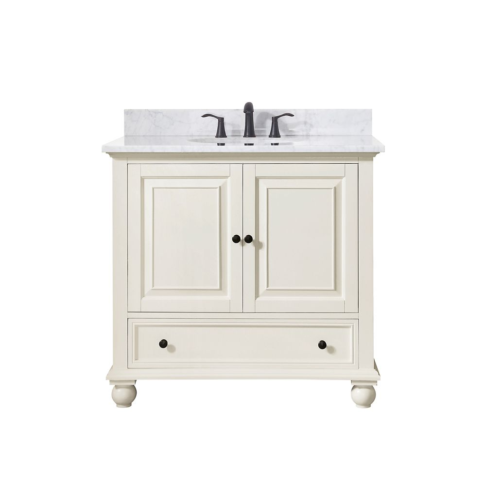 Avanity Thompson 37 Inch Vanity Combo In French White Finish With Carrera White Top