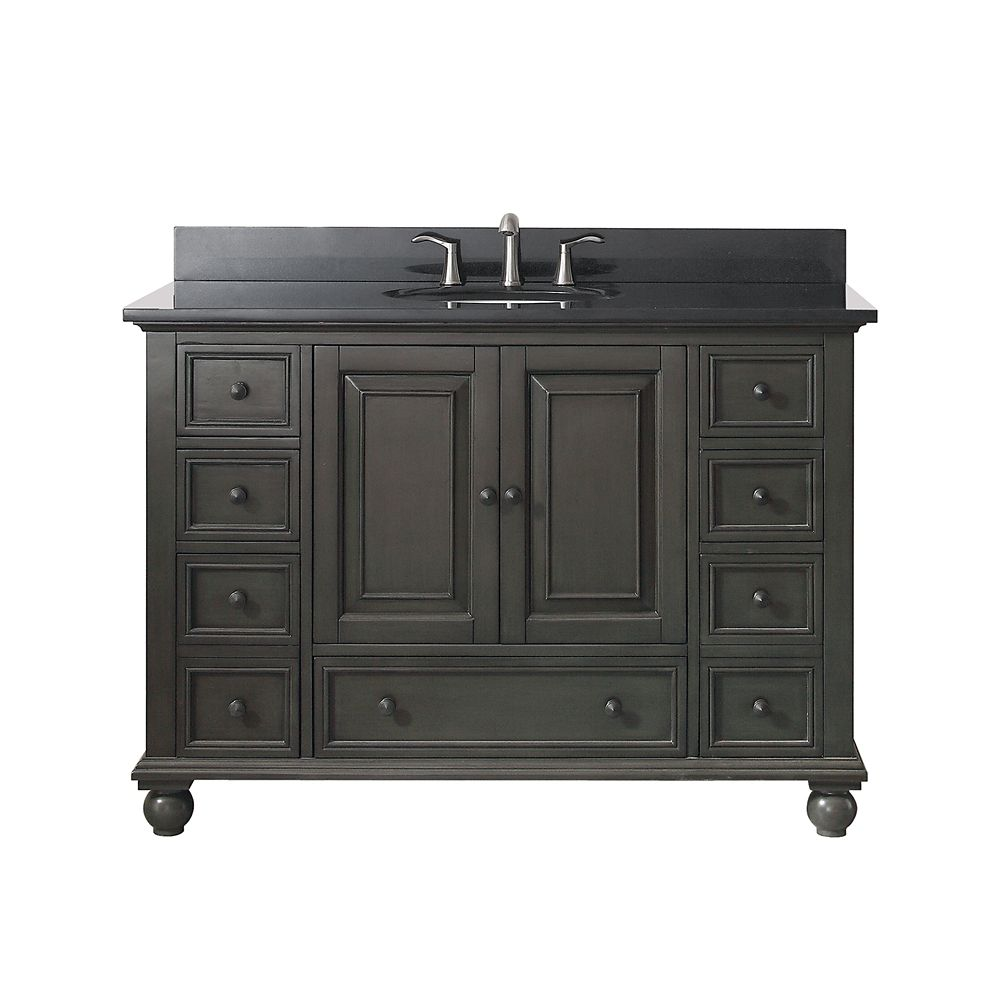 Thompson 49 Inch Vanity Combo In Charcoal Glaze Finish With Black Granite Top