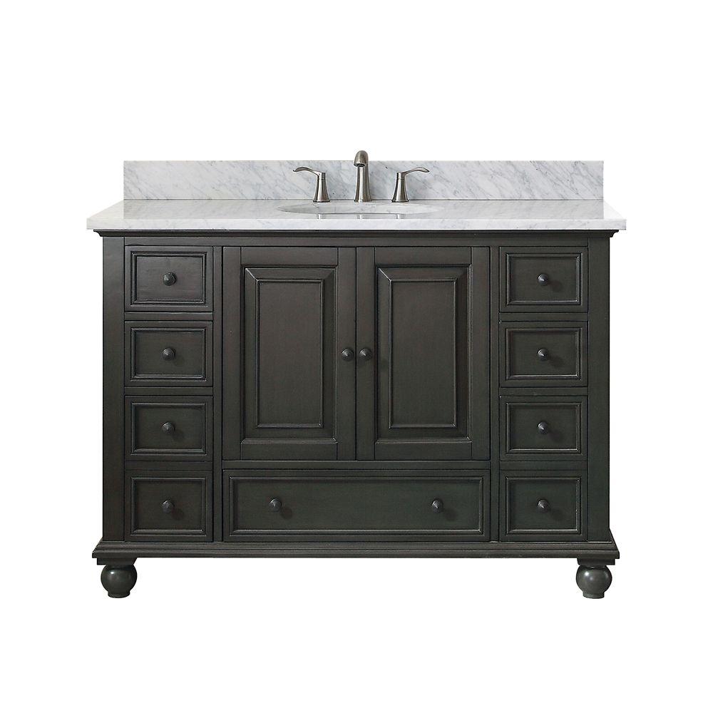 Meuble-lavabo Thompson charbon satiné comptoir marbre Carrare blanc 49 po