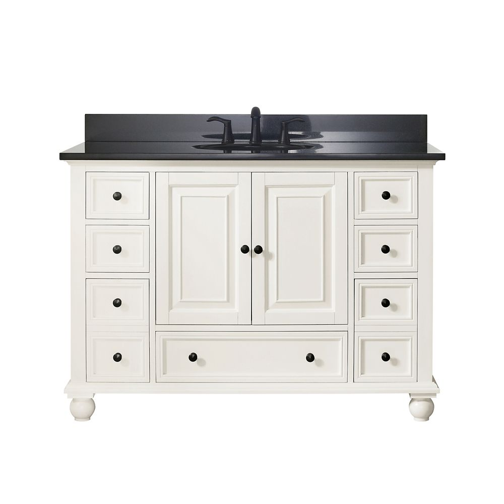Thompson 49 Inch Vanity Combo In French White Finish With Black Granite Top