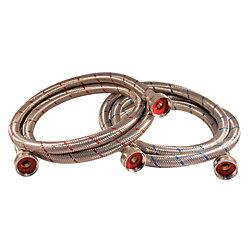 Aqua-Dynamic Flex Connector Ss 3/4i Hose X 3/4i Hose 60i Wash Machine (2-Pack) Lead Free with Large Hose Nuts