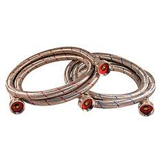 Flex Connector Ss 3/4i Hose X 3/4i Hose 60i Wash Machine (2-Pack) Lead Free with Large Hose Nuts
