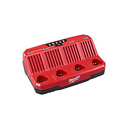 Milwaukee Tool Chargeur de batterie séquentiel M12 12V lithium-ion 4 ports à 4 ports