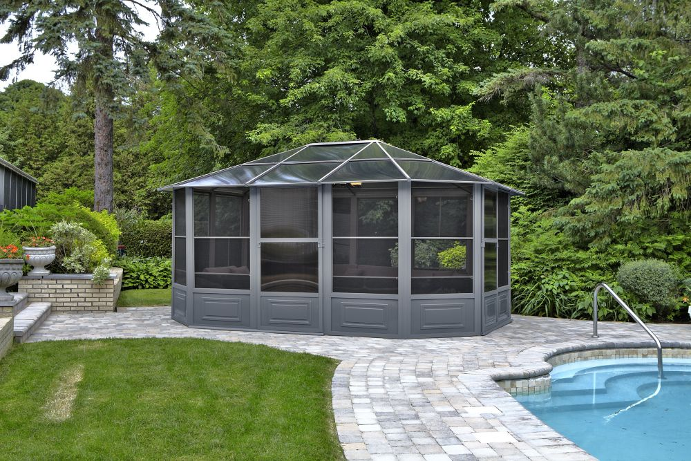 Gazebo Penguin 12 ft. x15 ft. Solarium in Grey