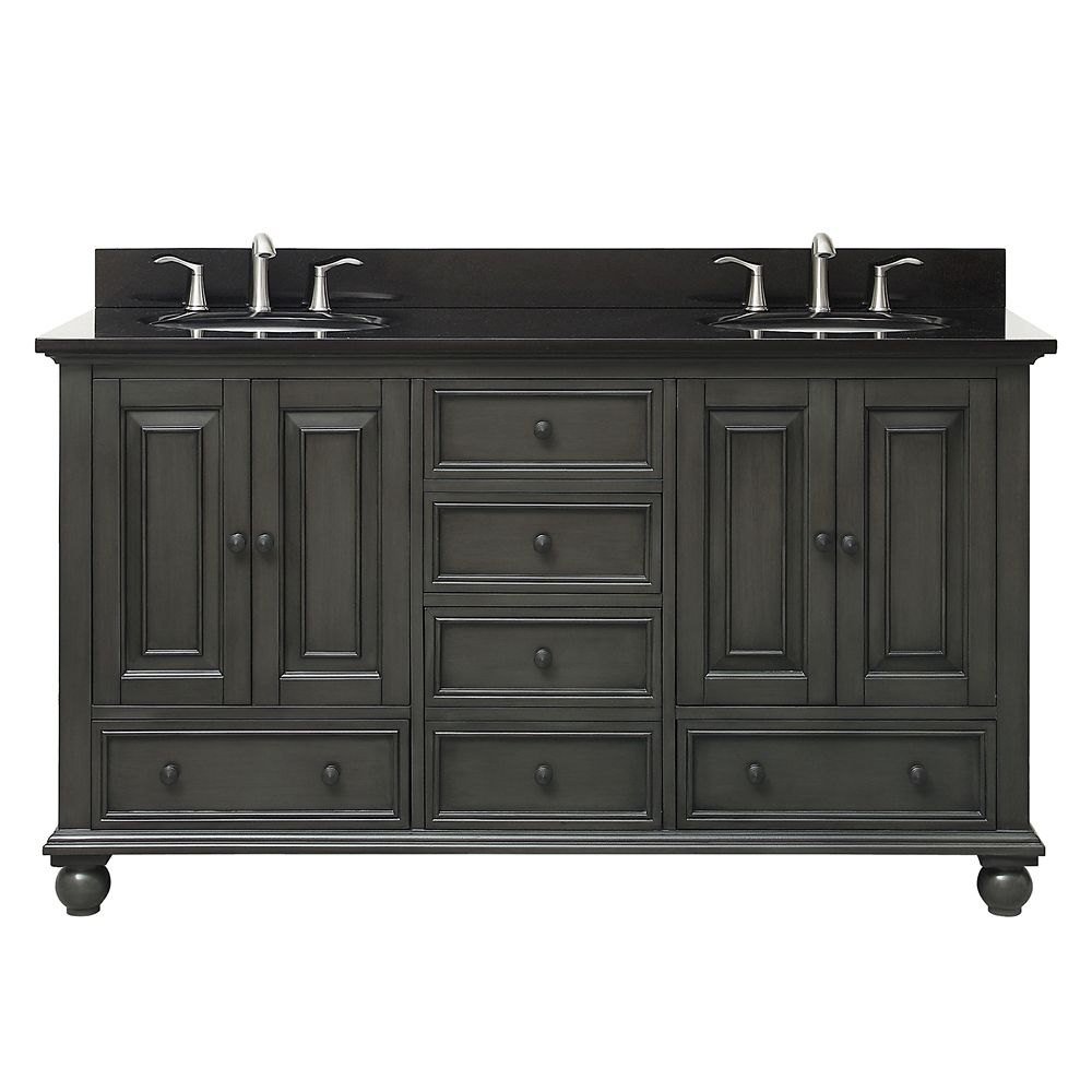 Thompson 61 Inch Double Sink Vanity Combo In Charcoal Glaze Finish With Black Granite Top