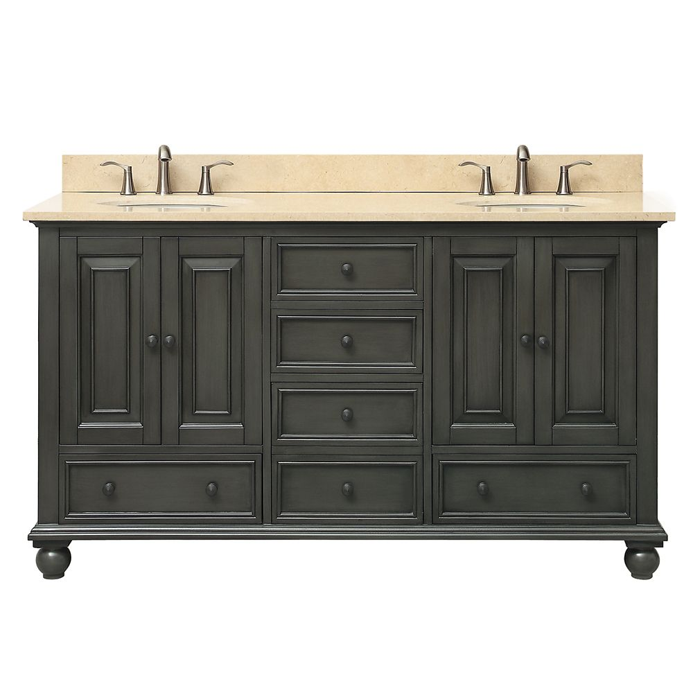 Thompson 61 Inch Double Sink Vanity Combo In Charcoal Glaze Finish With Galala Beige Top