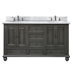 Avanity Thompson 61 Inch Double Sink Vanity Combo In Charcoal Glaze Finish With Carrera White Top