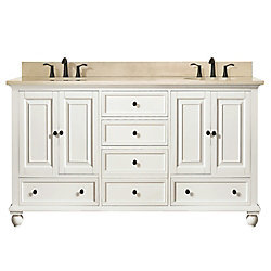 Avanity Thompson 61 Inch Double Sink Vanity Combo In French White Finish With Galala Beige Top