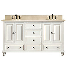 Thompson 61 Inch Double Sink Vanity Combo In French White Finish With Galala Beige Top