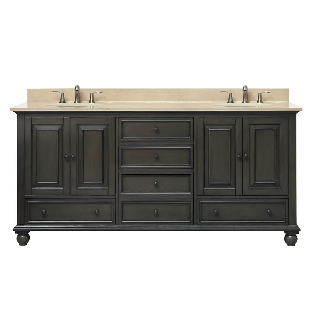 Thompson 73 Inch Double Sink Vanity Combo In Charcoal Glaze Finish With Galala Beige Top