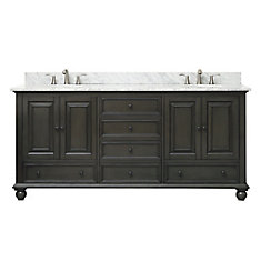 Thompson 73 Inch Double Sink Vanity Combo In Charcoal Glaze Finish With Carrera White Top