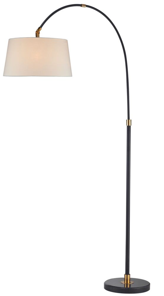 Black Arc Lamp  With White Shade
