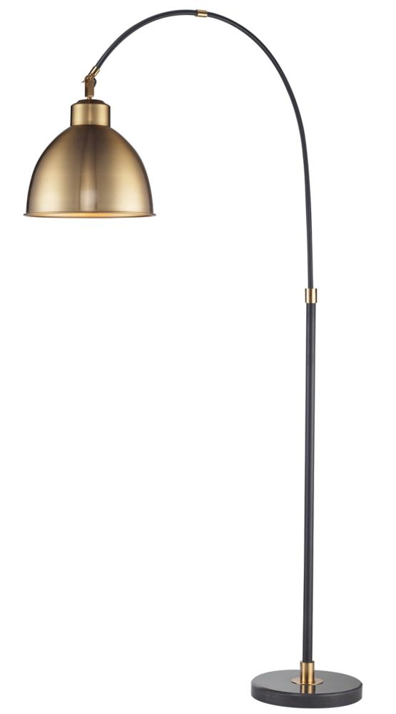 Black Arc Lamp  With Brass Metal Shade