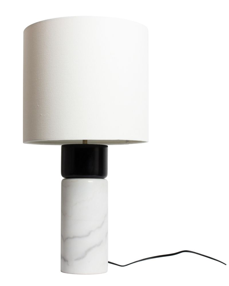 LAMPE DE TABLE BASE EN MARBRE BLANC,  BOIS ET NOIR