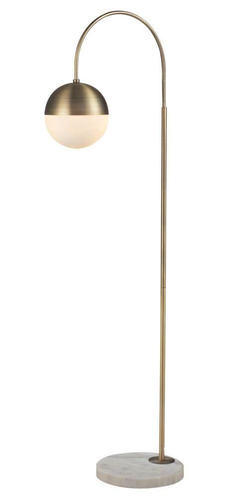 60 Inch Antique  Bronze Floor  Lamp  W/OPAL Glass