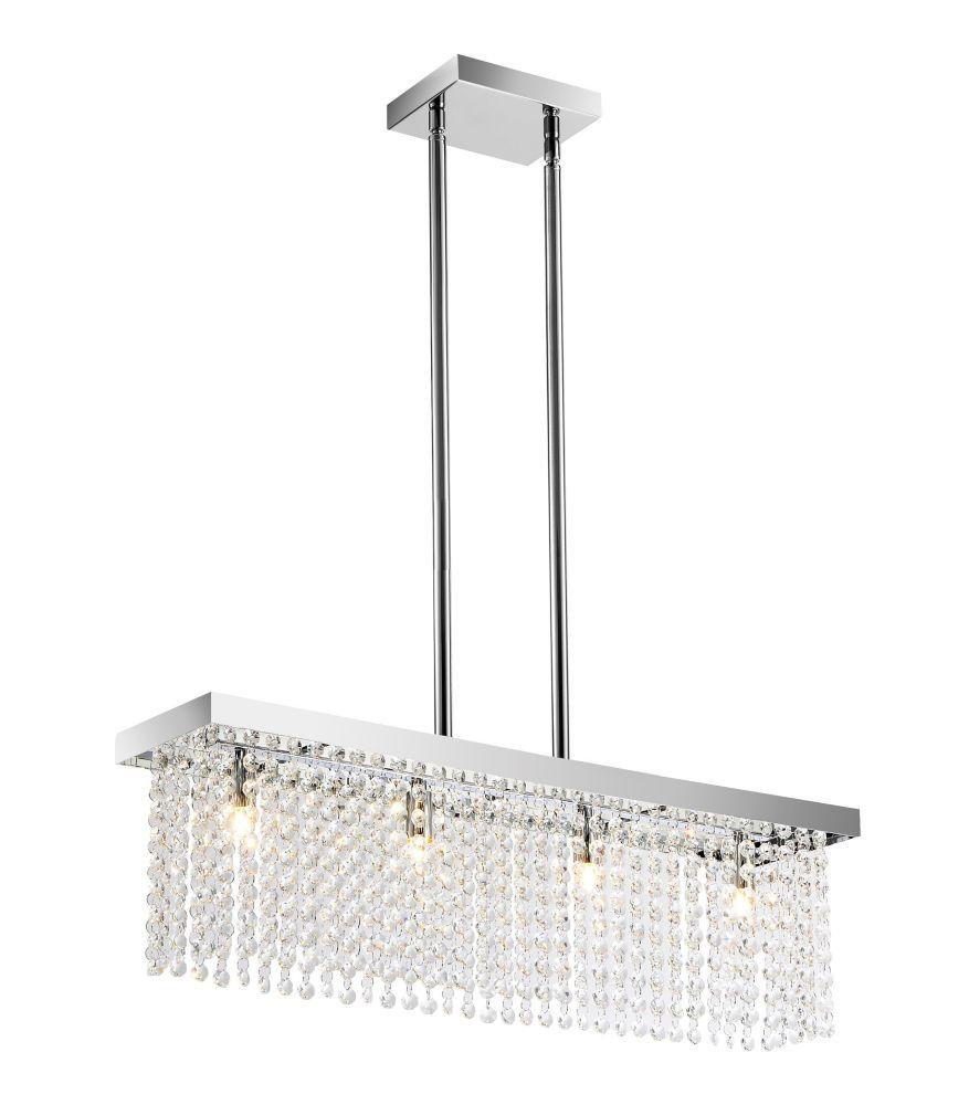 4-Light Rectangular Glass Rod Pendant Light Fixture in Chrome