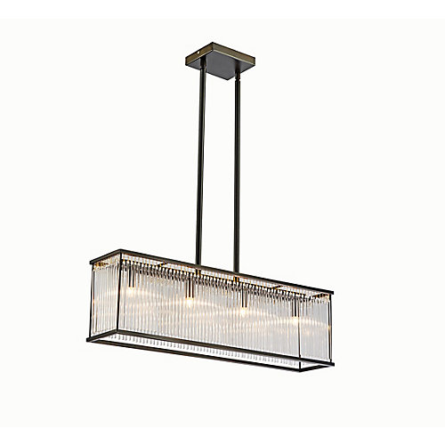 Lampe suspendue rectangulaire avec détails en verre