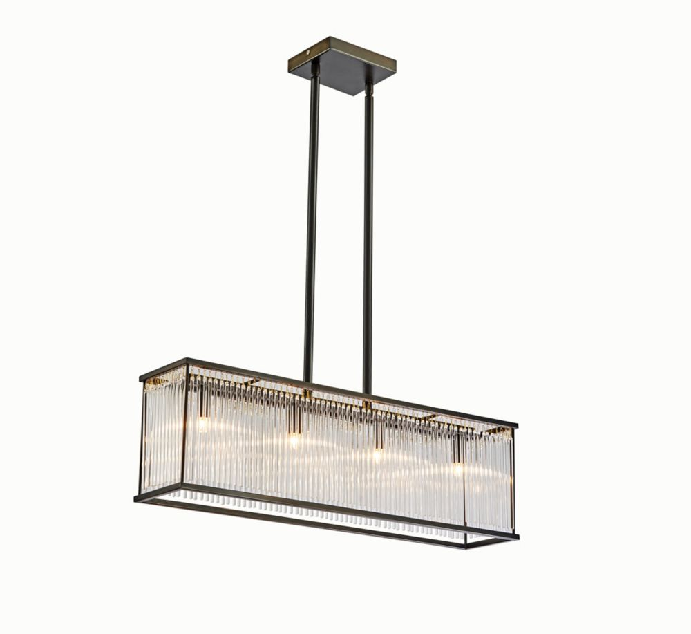 Rectangle Glass Rod Pendant Fixture, 4 Light, G9 Not Included, Bronze Finish, Glass Rods