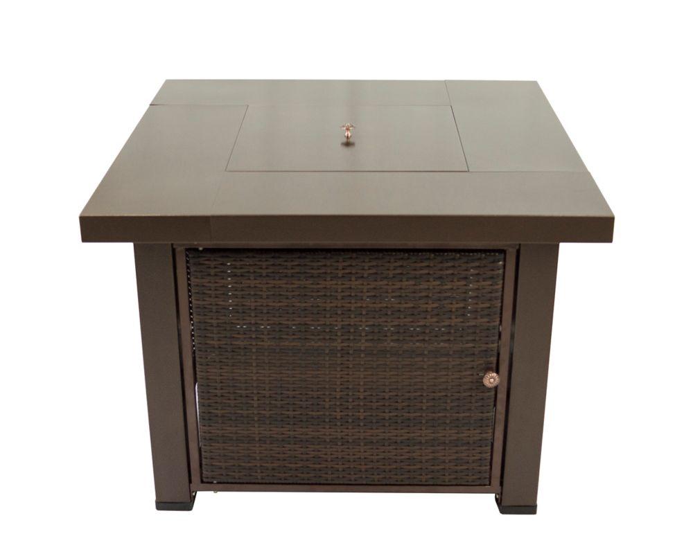 Table-foyer en osier carrée au gaz de 38 po Rio OFG419T Pleasant Hearth