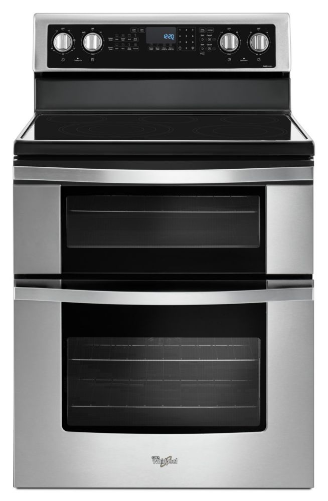 Whirlpool 6.7 cu. ft. Electric Double Oven Range with True Convection in Stainless Steel