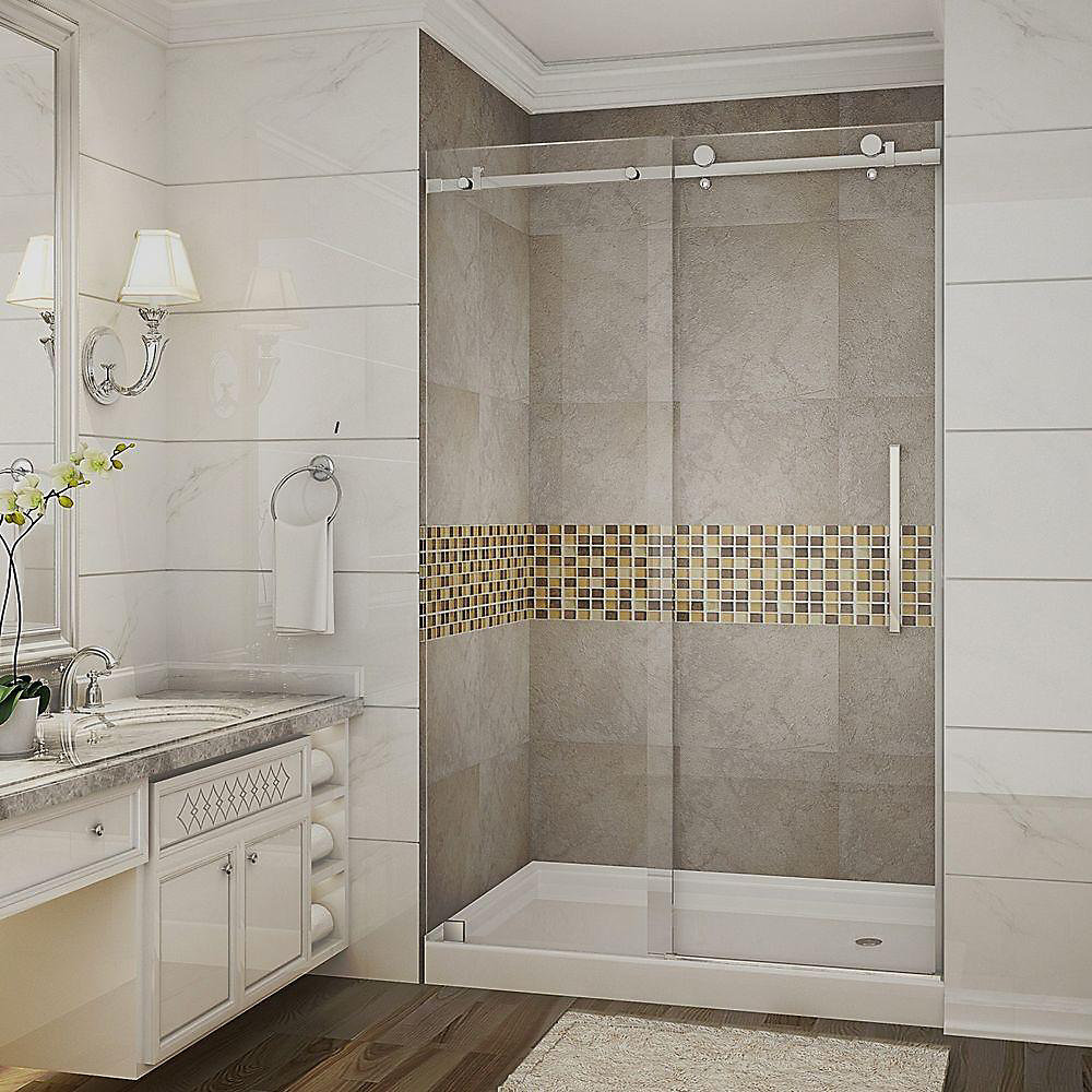 Moselle 48 Inch X 77.5 Inch Completely Frameless Sliding Shower Door With Base, Right Drain In Chrome