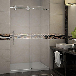 Aston Langham 48 Inch X 77.5 Inch Completely Frameless Sliding Shower Door With Base, Left Drain In Chrome