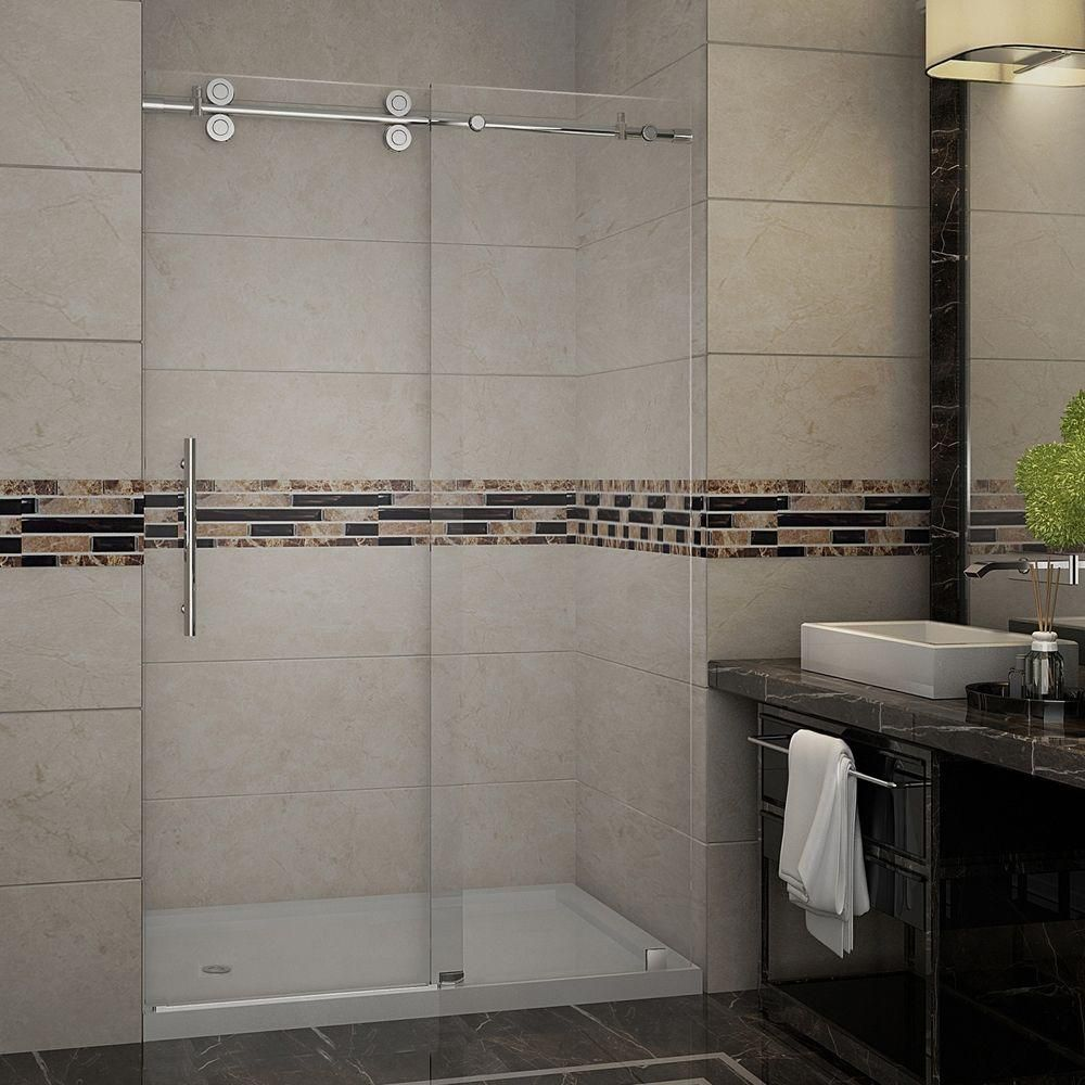Langham 48 Inch X 77.5 Inch Completely Frameless Sliding Shower Door With Base, Left Drain In Sta...