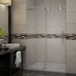 Aston Langham 48 Inch X 77.5 Inch Completely Frameless Sliding Shower Door With Base, Right Drain In Stainless Steel