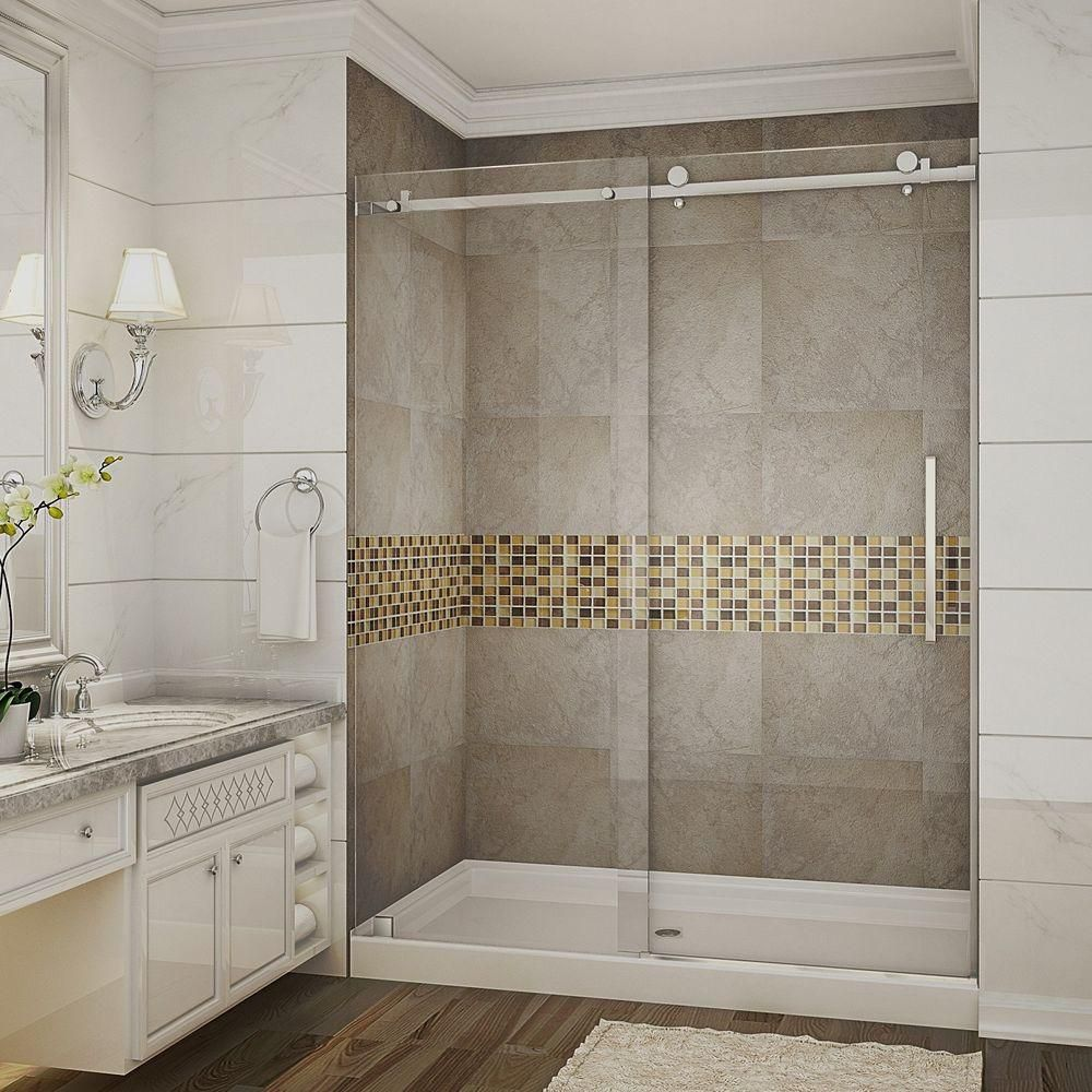 Aston Moselle 60 Inch X 77.5 Inch Completely Frameless Sliding Shower Door With Base, Middle Drain In Stainless Steel