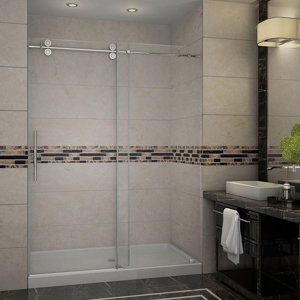 Aston Langham 60 Inch X 77.5 Inch Completely Frameless Sliding Shower Door With Base, Middle Drain In Stainless Steel