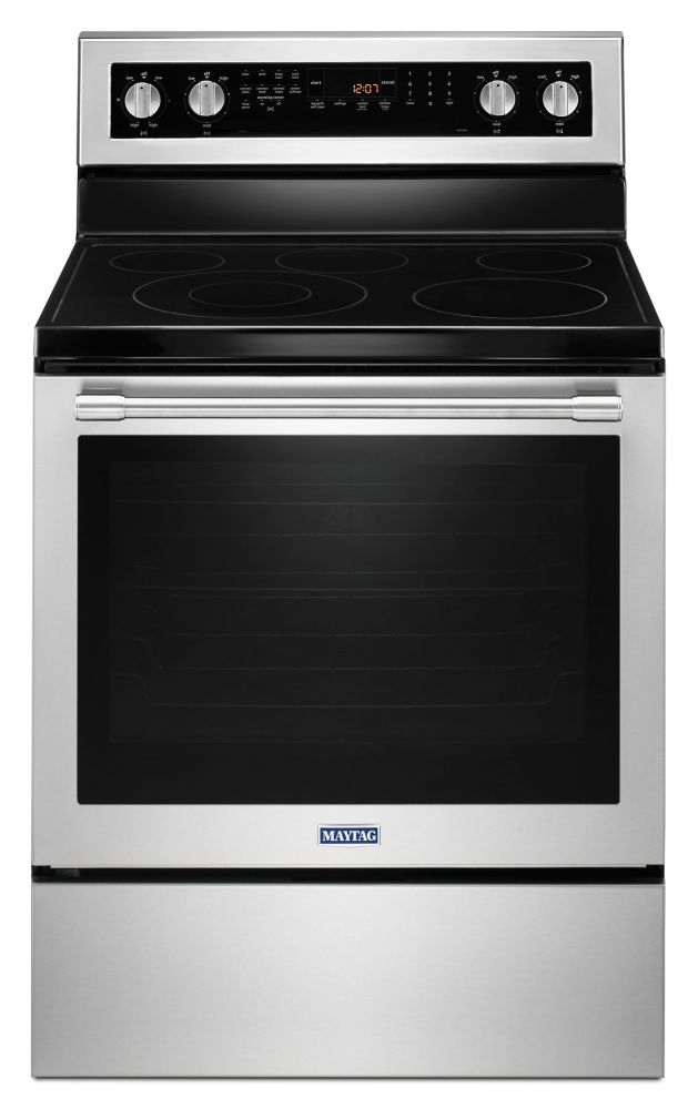 Maytag 30-inch 6.4 cu. ft. Single Oven Electric Range with Self-Cleaning Convection Oven in Stainless Steel