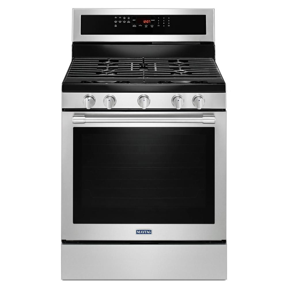Maytag 30-Inch 5.8 cu.ft. Single Oven Gas Range with Self-Cleaning Convection Oven in Stainless Steel