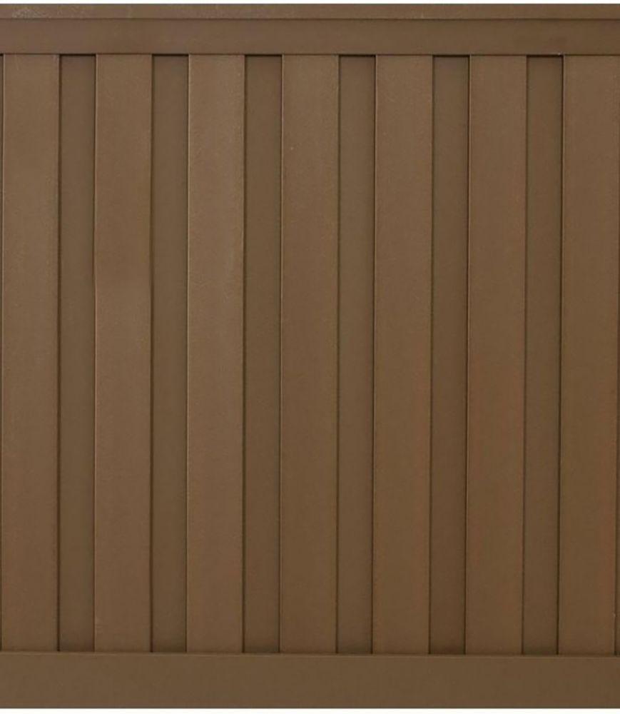 6 Feet x 6 Feet Saddle Wood-Plastic Composite Board-On-Board Privacy Fence Panel Kit