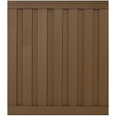 6 Feet x 6 Feet Saddle Wood-Plastic Composite Board-On-Board Privacy Fence Panel Kit
