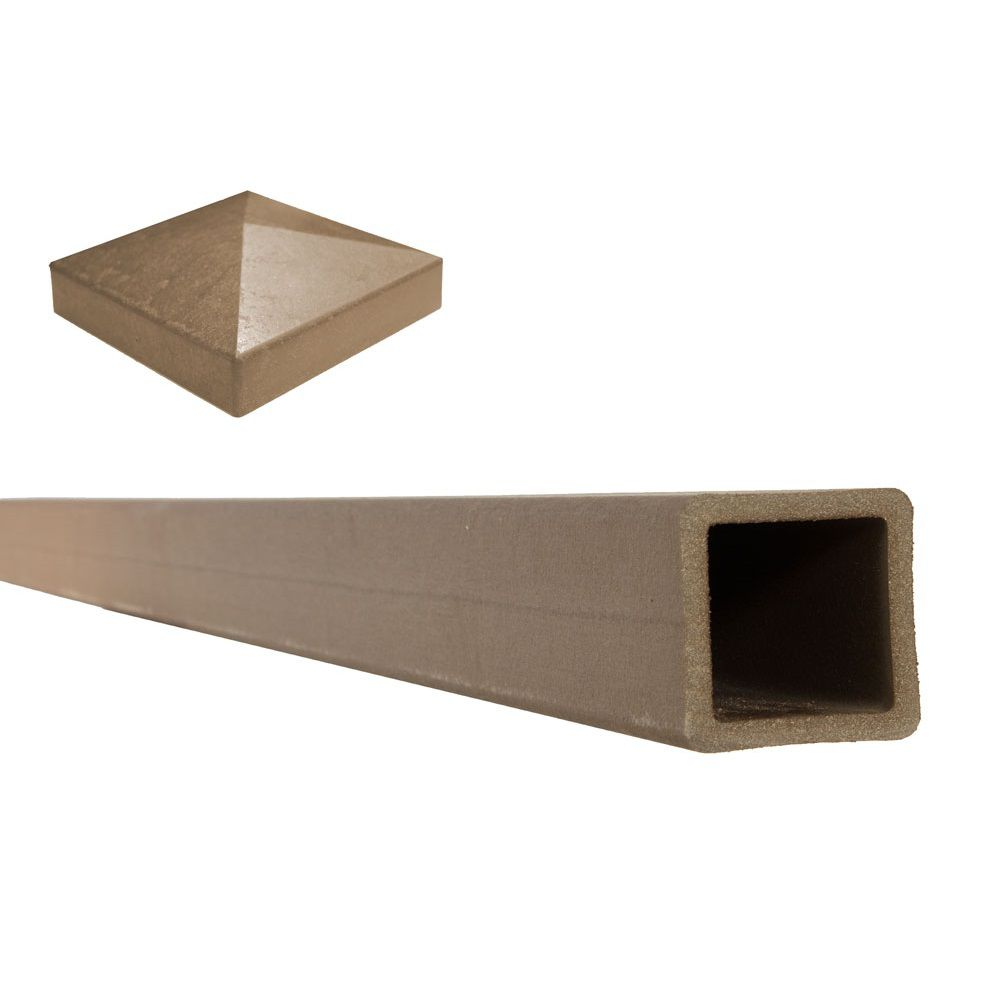 5 Inches x 5 Inches x 8 Feet Saddle Wood-Plastic Composite Fence Post with Crown Post Cap