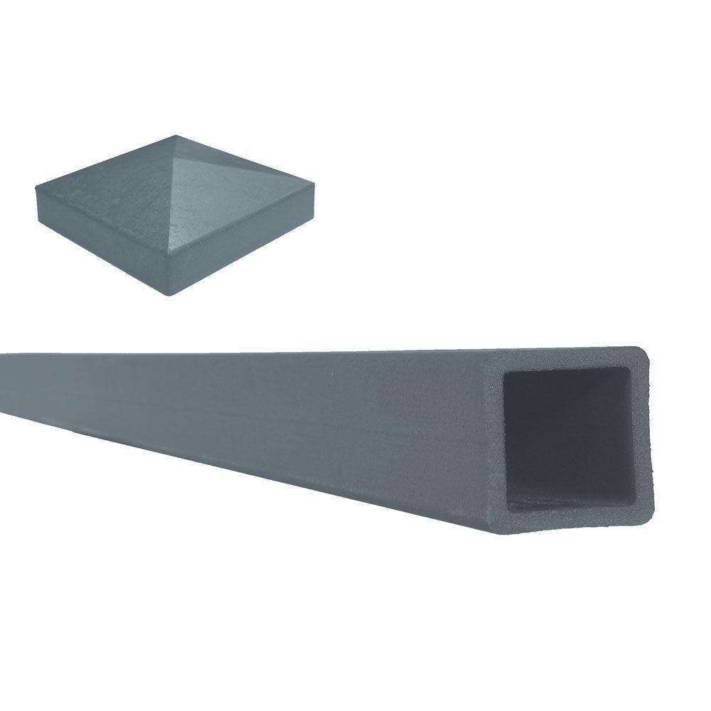 """Poteau de clôture composite couleur gris Winchester avec un capuchon de poteau plat   5""""x 5""""x 8'"""