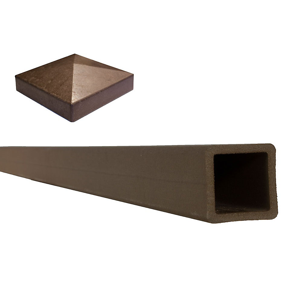 """Poteau de clôture composite couleur brun Woodland avec un capuchon de poteau plat  5"""" x 5"""" x 8'"""