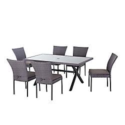 Hampton Bay Sky Breeze 7-Piece Woven Patio Dining Set with Glass Tabletop