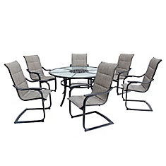 St Lucia 7 Piece C Spring Padded Sling Patio Dining Set