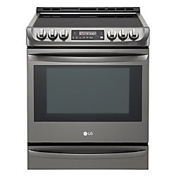 LG Electronics 30-inch 6.3 cu.ft. Electric Slide-In Range with ProBake Convection in Black Stainless Steel