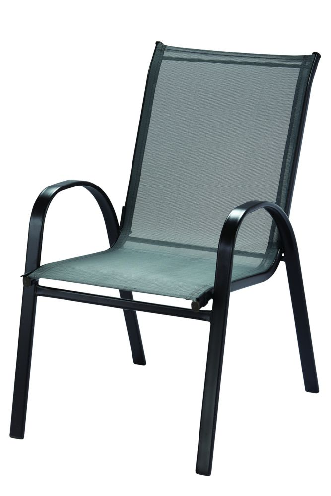 Hampton Bay Patio Sling Stack Chair in Graphite