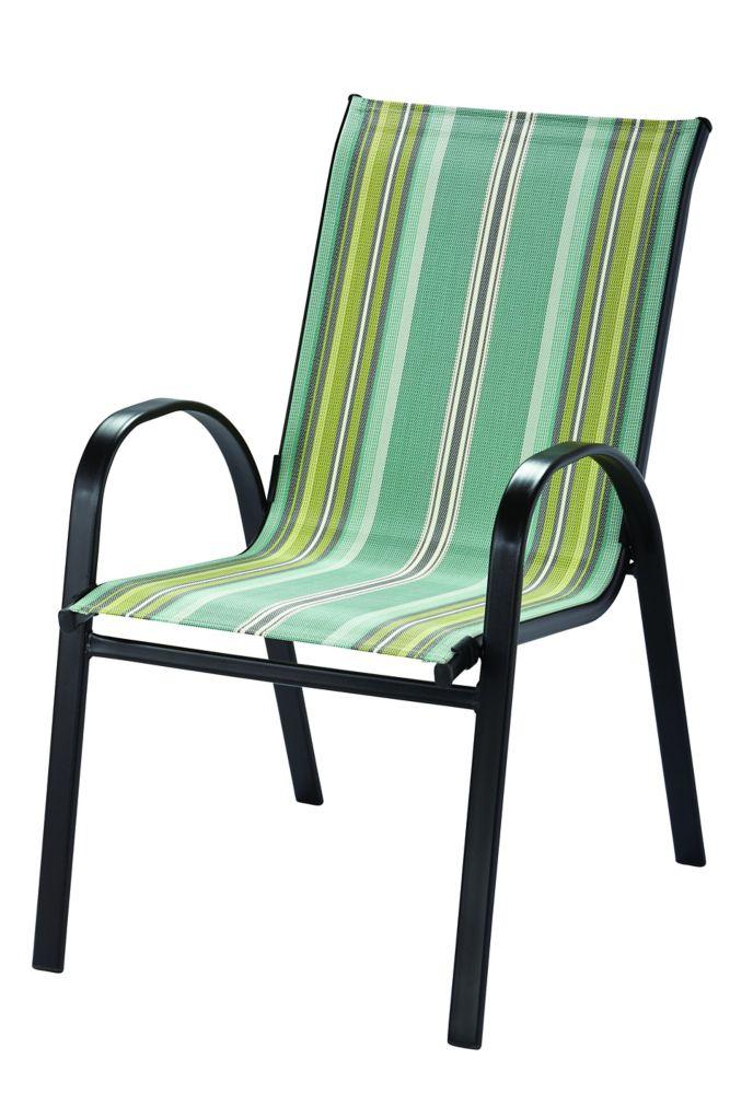 Hampton Bay Patio Furniture Warranty Canada: Hampton Bay Patio Sling Stack Chair In Revised Stripe