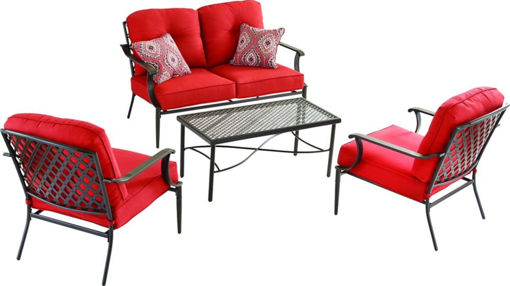 Hampton Bay Kings Square 4-Piece Patio Chat Set