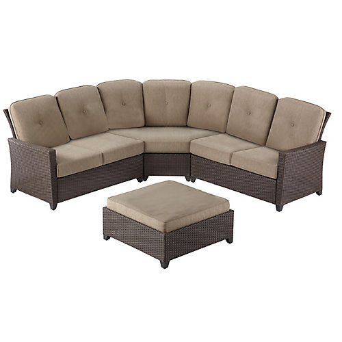 Tacana 4-Piece Wicker Outdoor Patio Sectional Set with Beige Cushions