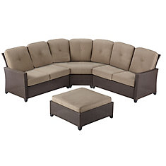 Tacana 4-Piece Patio Sectional Set with Beige Cushions