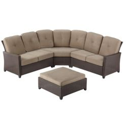Hampton Bay Tacana 4-Piece Wicker Outdoor Patio Sectional Set with Beige Cushions
