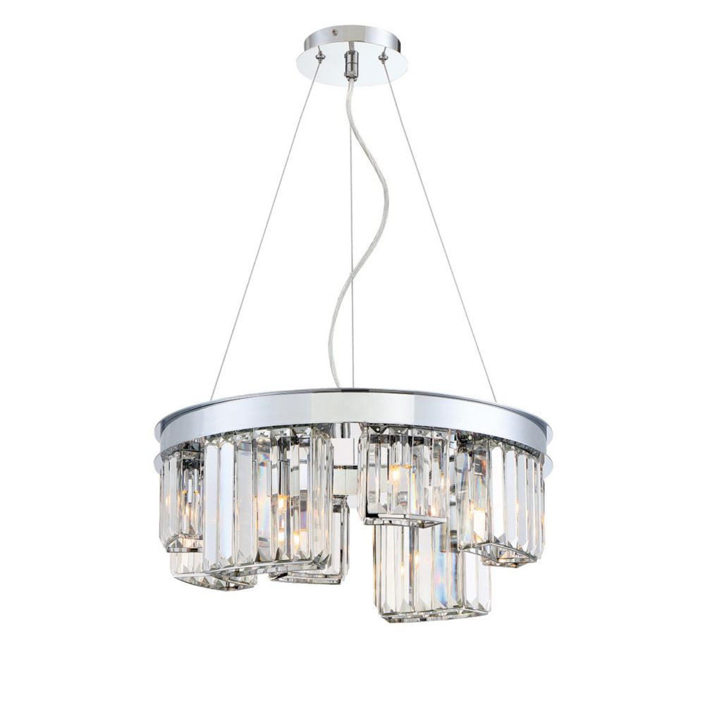 Collection Lumino, lustre chrome à 8 ampoules