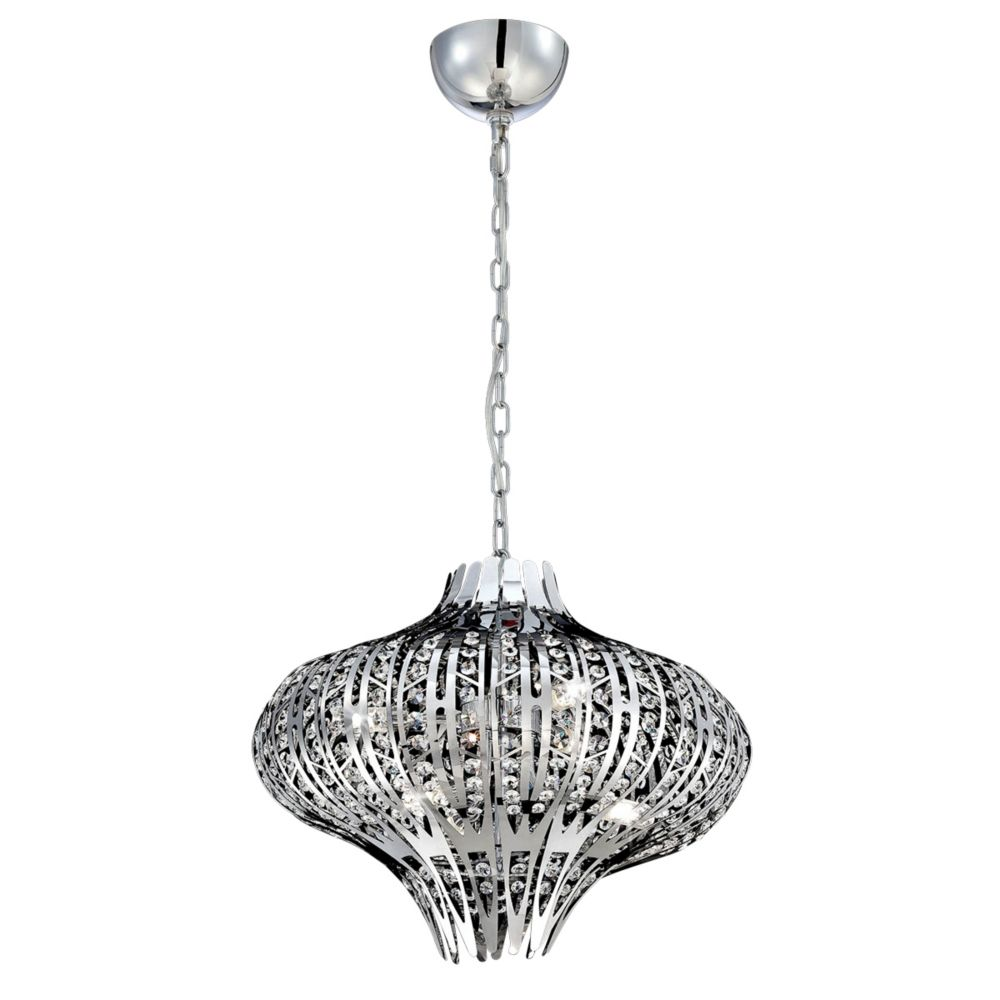 Monica Collection, 6-Light Chrome and Clear Chandelier
